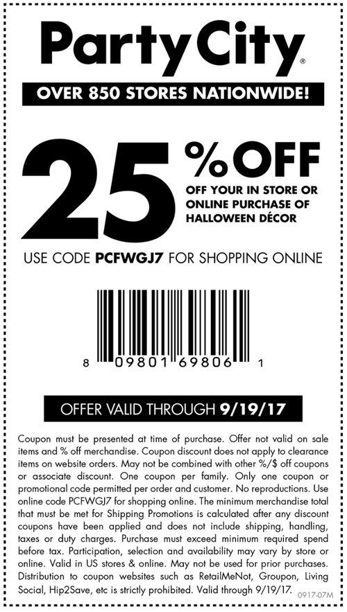 PartyCity.com Promo Coupon 25% off today at Party City, or online via promo code PCFWGJ7