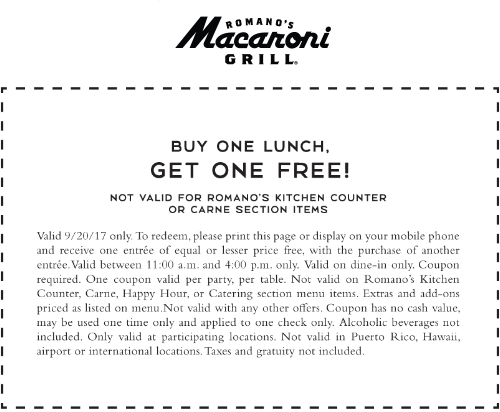 Macaroni Grill Coupon October 2018 Second lunch free today at Macaroni Grill