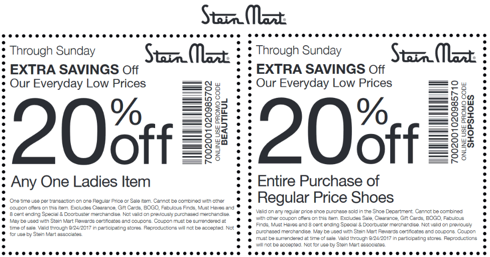 Stein Mart Coupon August 2018 20% off a single item & more at Stein Mart, or online via promo code BEAUTIFUL