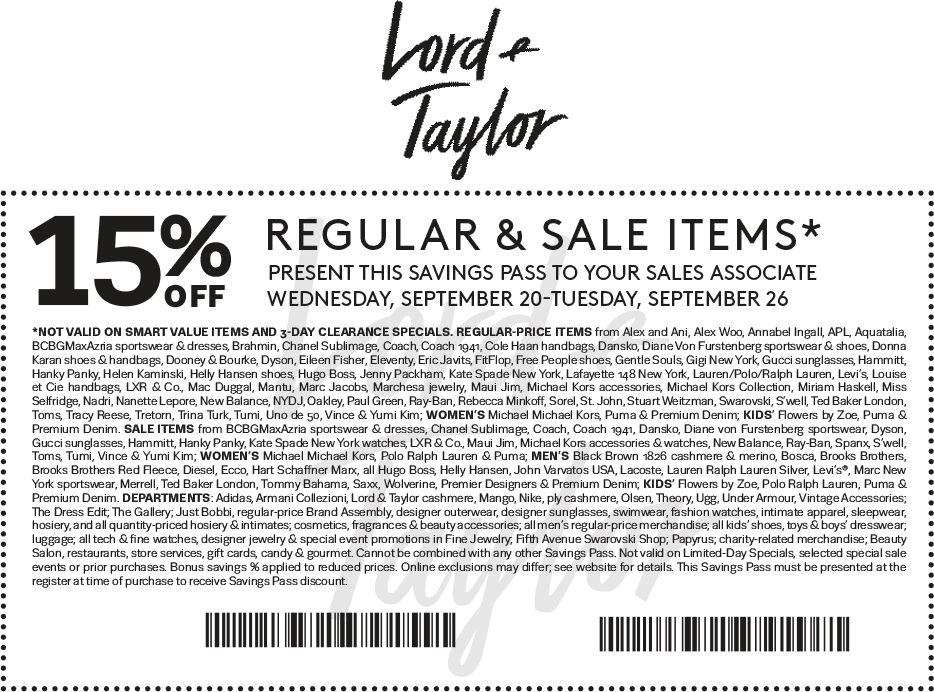 Lord & Taylor Coupon January 2018 15% off at Lord & Taylor, or online via promo code FASHION
