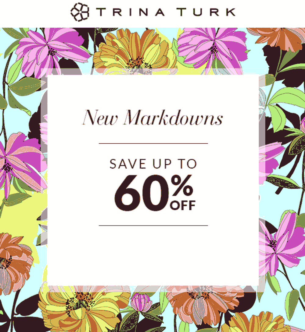 Trina Turk Coupon March 2019 60% off markdowns at Trina Turk, ditto online