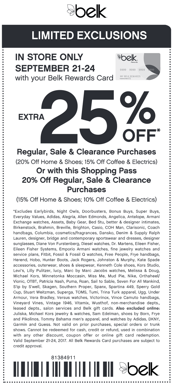 Belk Coupon April 2019 Extra 25% off at Belk
