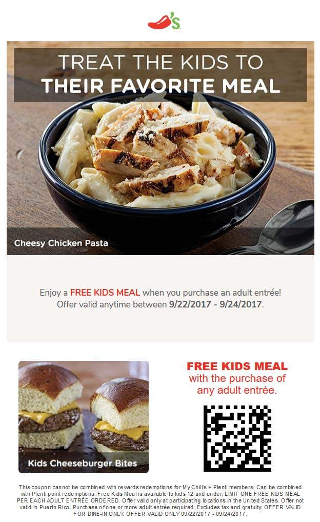 Chilis.com Promo Coupon Free kids meal with your entree at Chilis