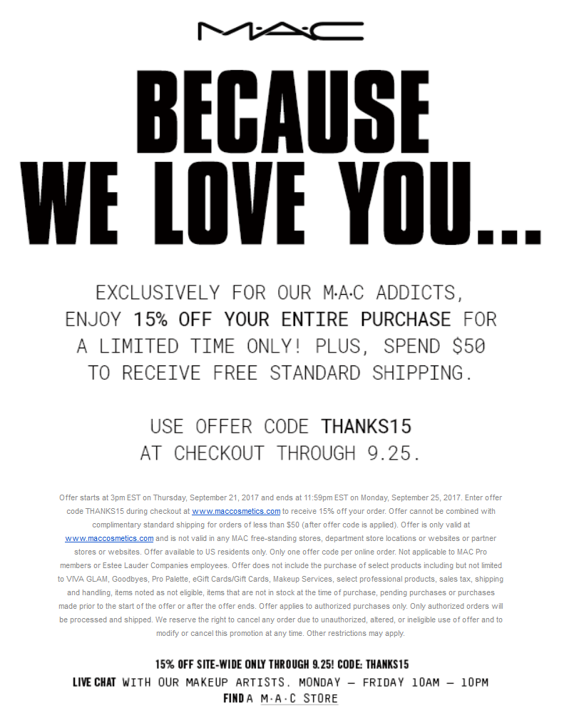 MACCosmetics.com Promo Coupon 15% off everything online at MAC Cosmetics via promo code THANKS15