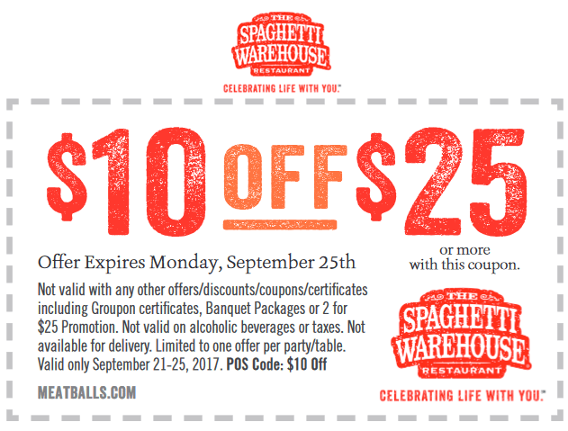 SpaghettiWarehouse.com Promo Coupon $10 off $25 at Spaghetti Warehouse restaurants