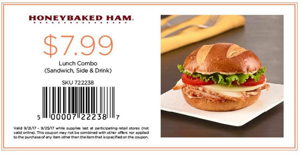 HoneyBaked Coupon August 2018 $8 lunch combo meal at Honeybaked Ham
