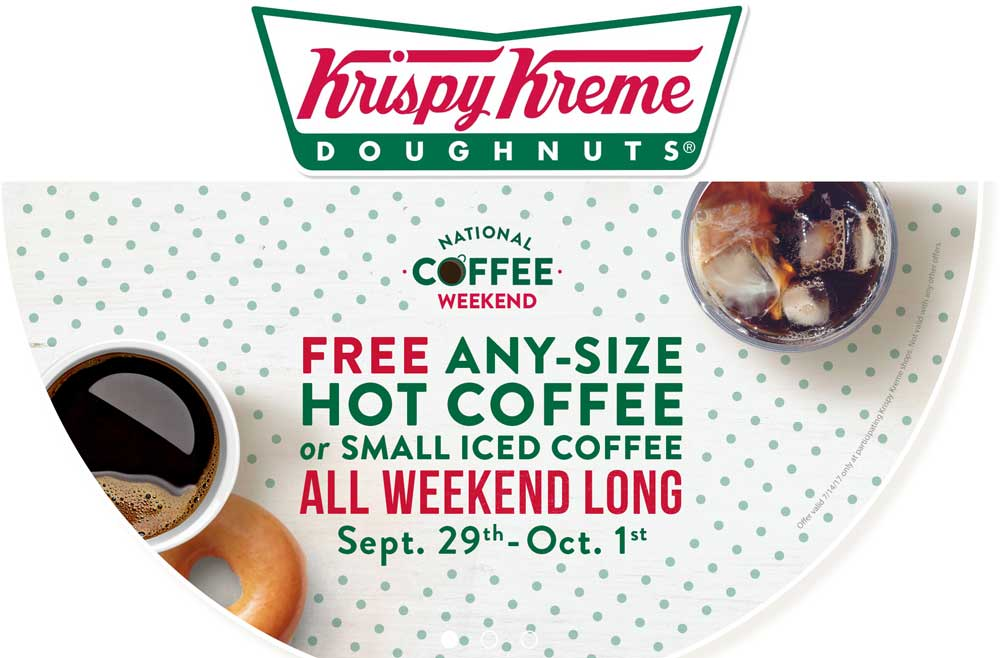 Krispy Kreme Coupon March 2019 Free coffee the this weekend at Krispy Kreme doughnuts