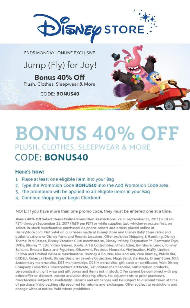 Disney Store Coupon July 2018 40% off online today at Disney Store via promo code BONUS40