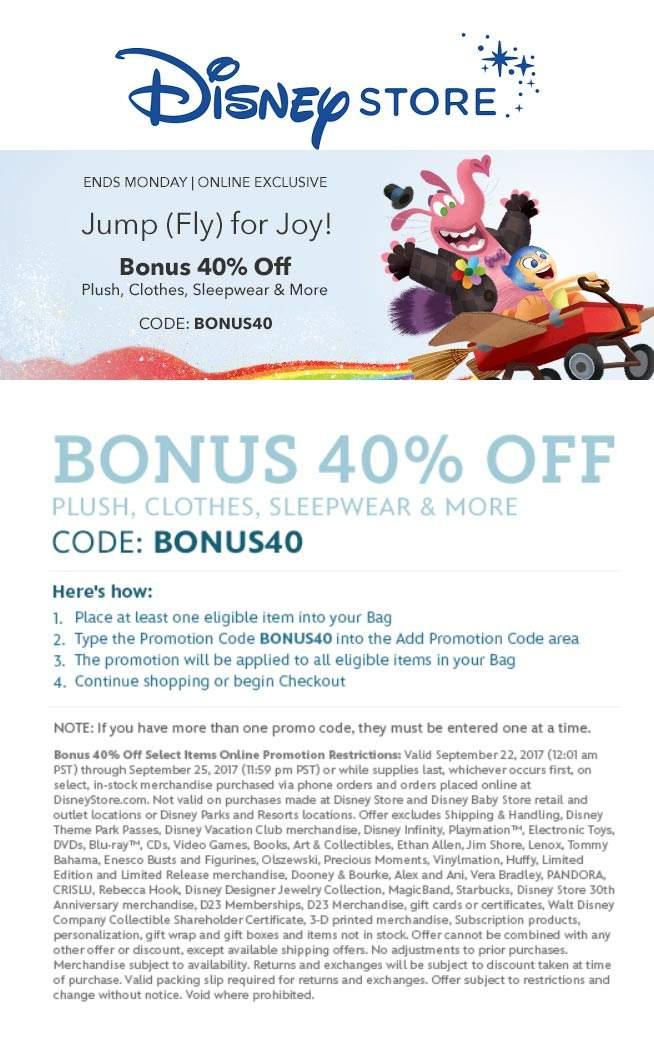 DisneyStore.com Promo Coupon 40% off online today at Disney Store via promo code BONUS40