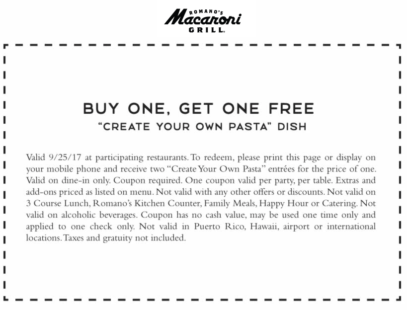 MacaroniGrill.com Promo Coupon Second pasta free today at Macaroni Grill restaurants