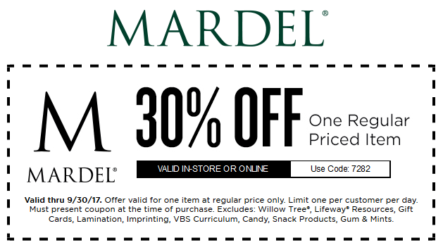 Mardel.com Promo Coupon 30% off a single item at Mardel, or online via promo code 7282