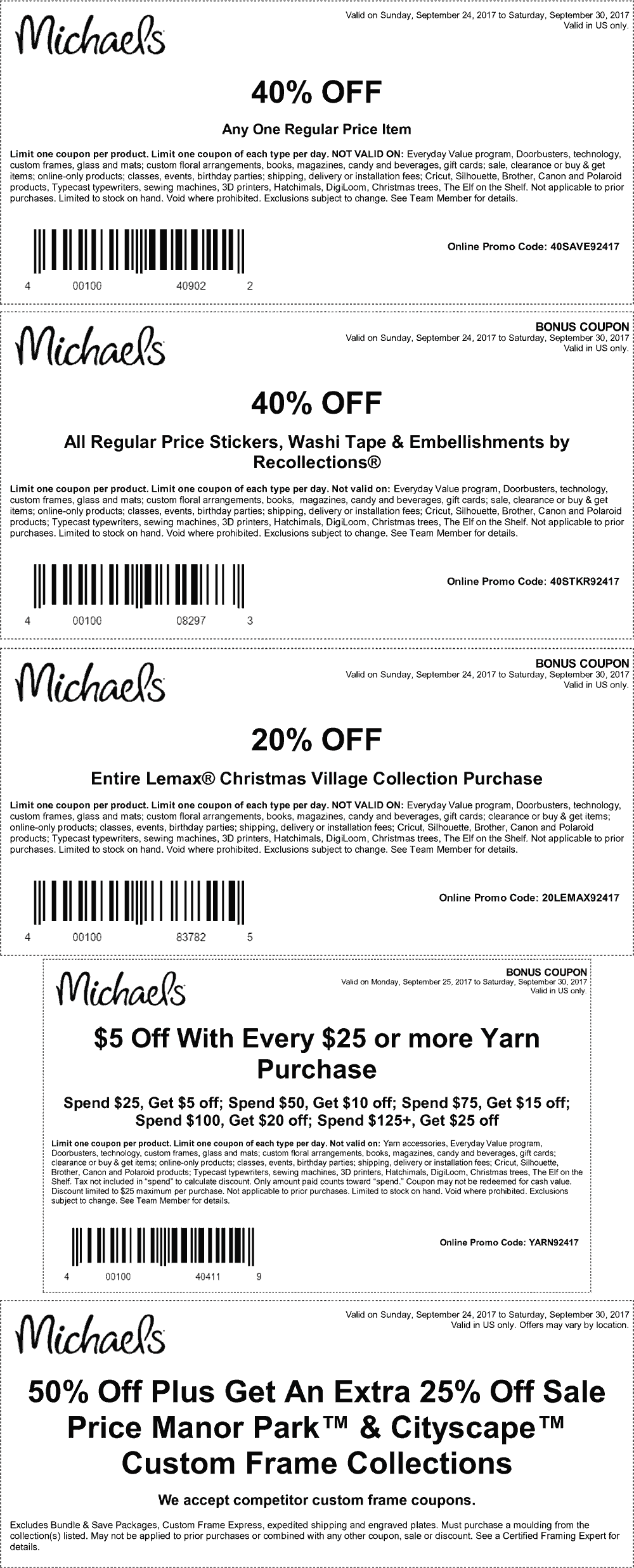 Michaels.com Promo Coupon 40% off a single item & more at Michaels, or online via promo code 40SAVE2417