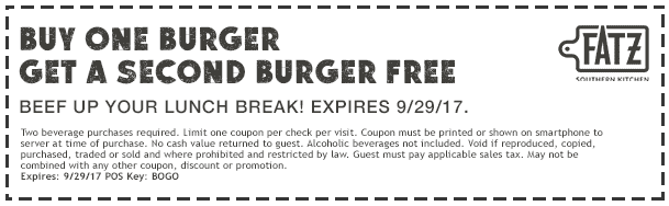 Fatz Coupon June 2019 Second burger free at Fatz restaurants