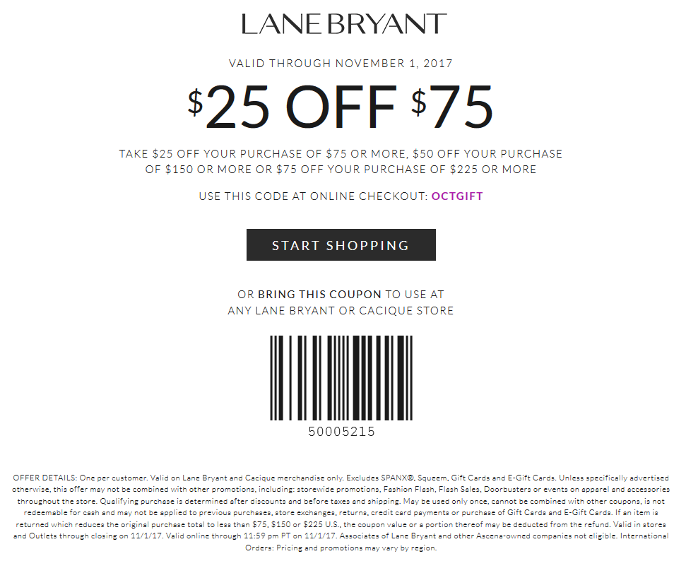 Lane Bryant Coupon March 2019 $25 off $75 at Lane Bryant & Cacique, or online via promo code OCTGIFT