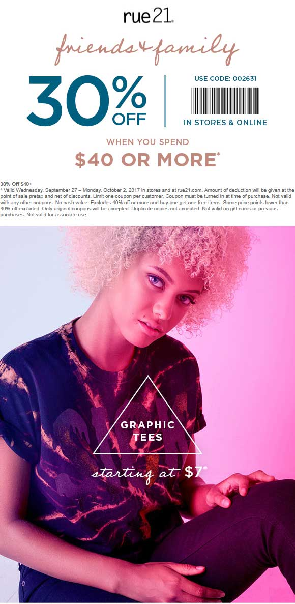 Rue21.com Promo Coupon 30% off $40 at rue21, or online via promo code 002631