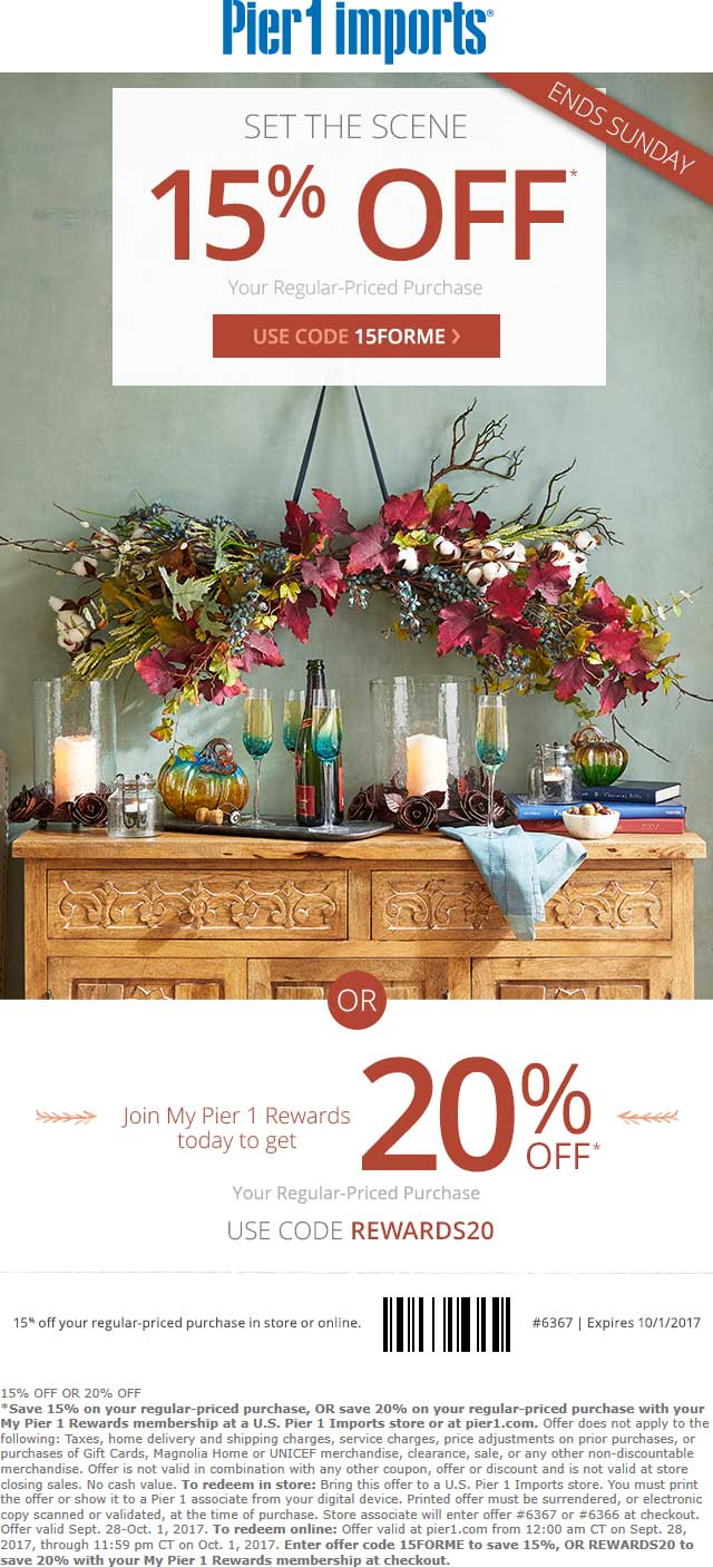 Pier 1 Coupon March 2019 15% off at Pier 1 Imports, or online via promo code 15FORME