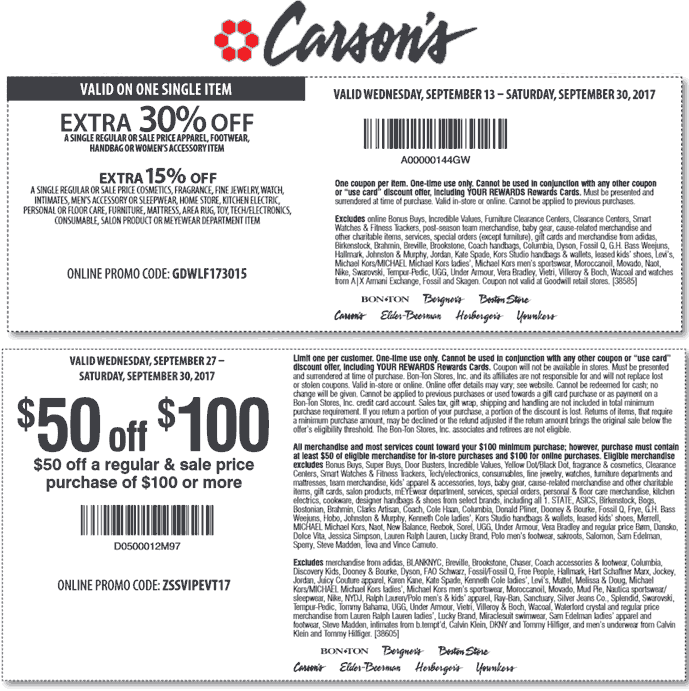 Carsons Coupon August 2018 Extra 30% off a single item & more today at Carsons, Bon Ton & sister stores, or online via promo code GDWLF173015