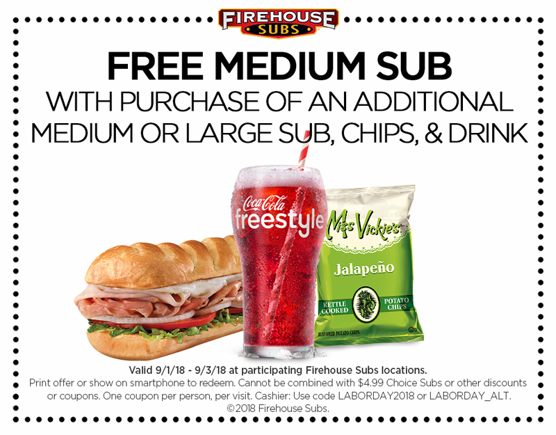 Firehouse Subs Coupon July 2019 Second sub sandwich free at Firehouse Subs