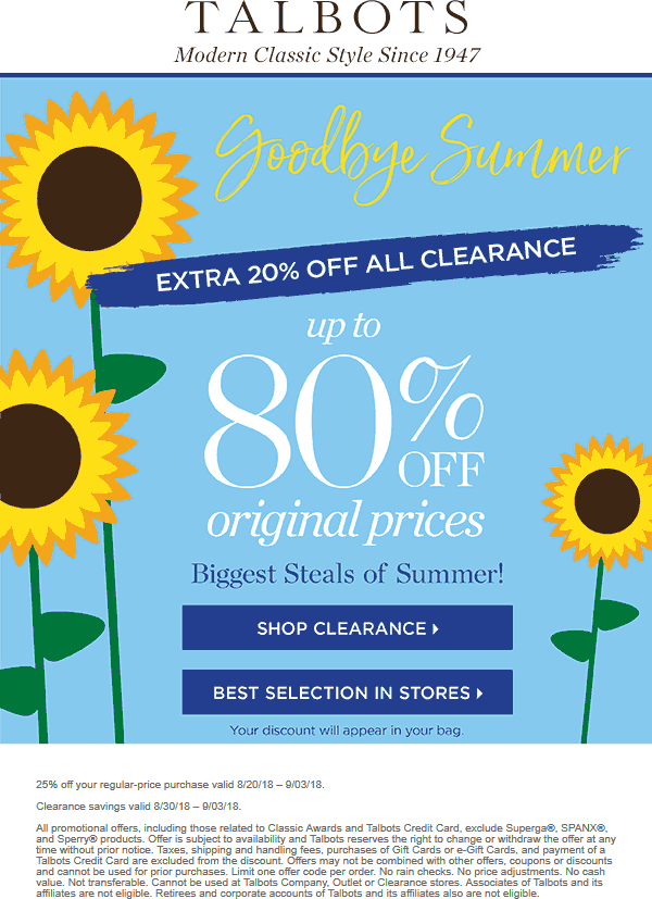 Talbots Coupon May 2019 25% off at Talbots, ditto online