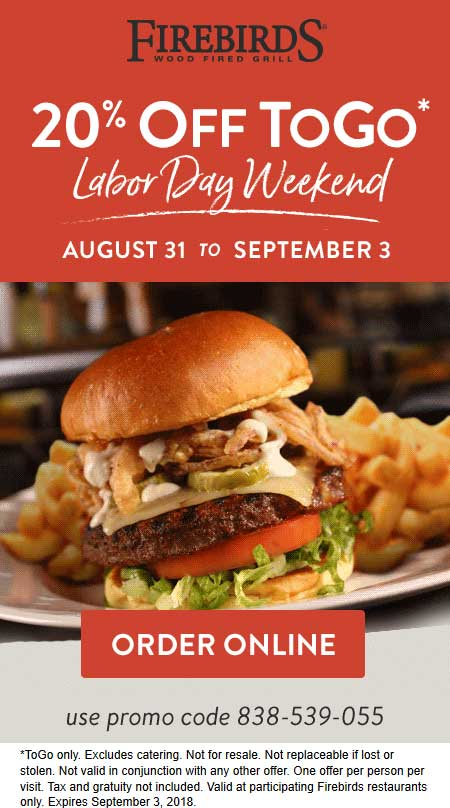 Firebirds Coupon November 2019 20% off takeout at Firebirds wood fired grill via promo code 838-539-055