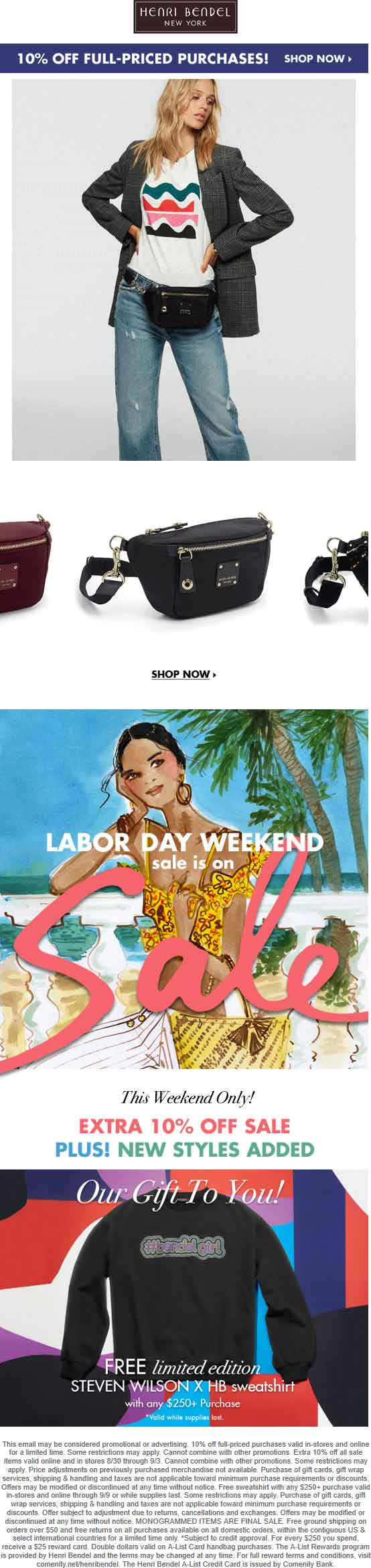 Henri Bendel Coupon November 2019 Extra 10% off sale items + free sweatshirt with $250 spent at Henri Bendel, ditto online