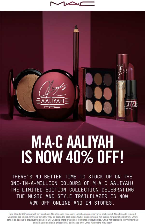 MAC Coupon July 2019 40% off at MAC cosmetics, ditto online