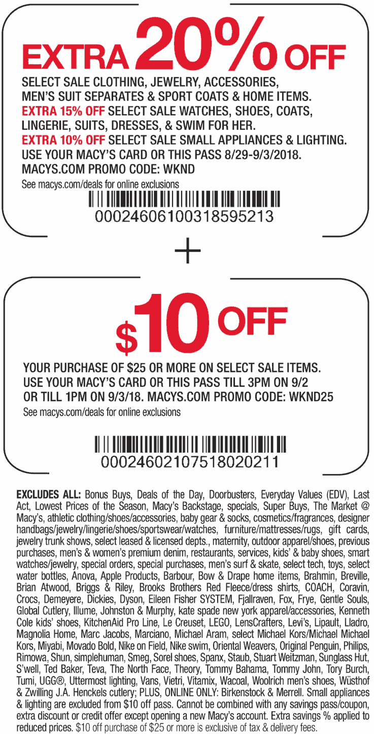 Macys Coupon July 2019 Extra 20% off at Macys, or online via promo code WKND