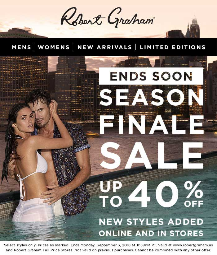 Robert Graham Coupon May 2019 40% off sale going on at Robert Graham, ditto online