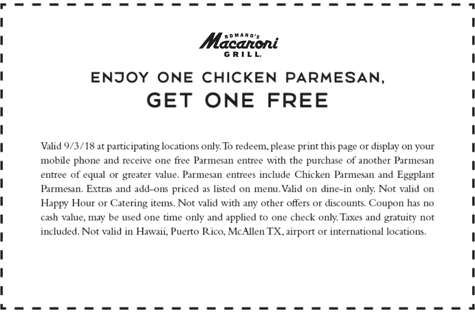 Macaroni Grill Coupon September 2019 Second chicken parmesan free today at Macaroni Grill