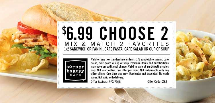 Corner Bakery Cafe Coupon June 2019 Choose 2 for $7 at Corner Bakery Cafe