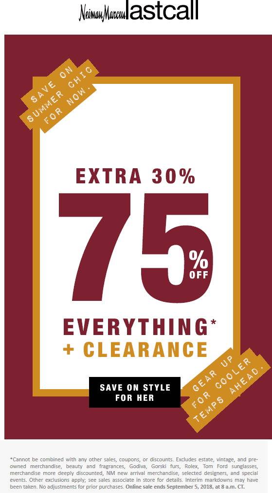 Last Call Coupon November 2019 30-75% off everything today at Neiman Marcus Last Call, ditto online