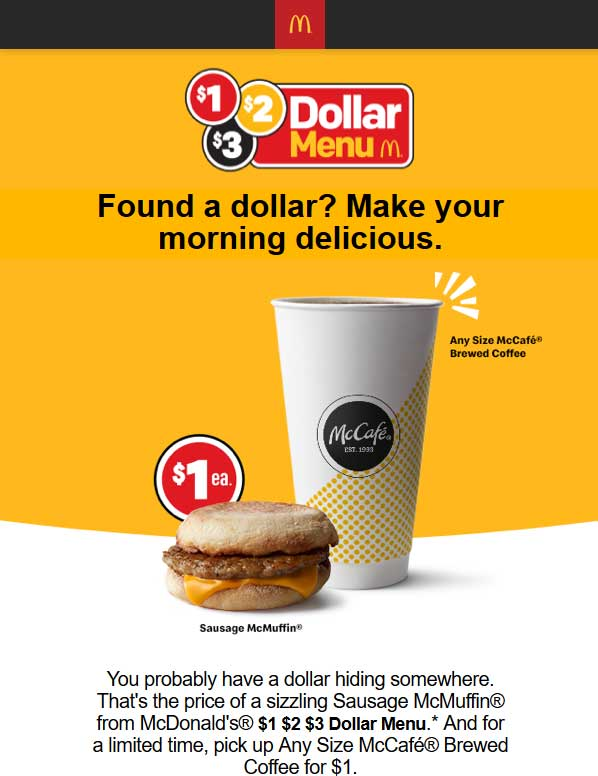 McDonalds Coupon July 2019 $1 large coffee at McDonalds