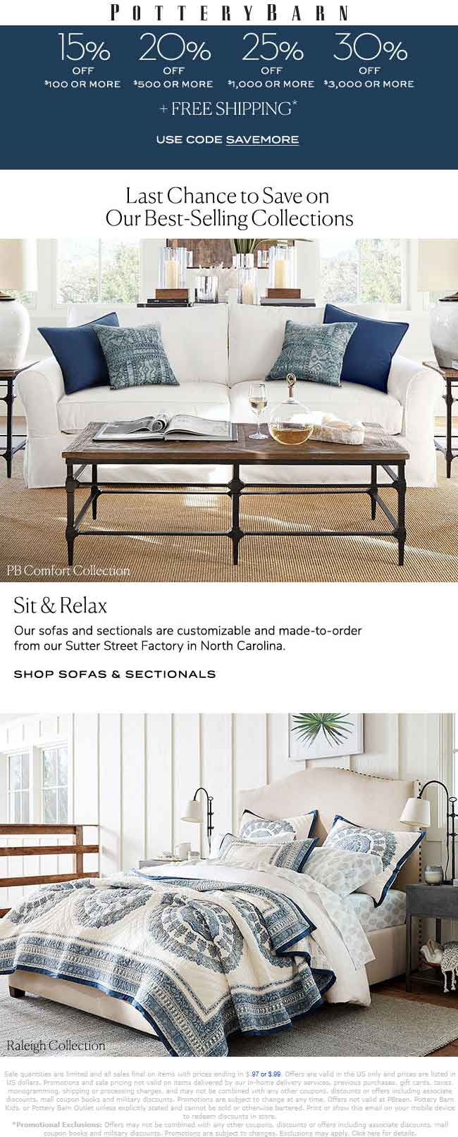 PotteryBarn.com Promo Coupon 15-20% off $100+ at Pottery Barn, or online via promo code SAVEMORE