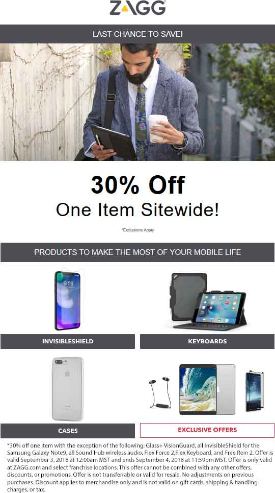 Zagg Coupon August 2019 30% off a single item online today at Zagg screen protectors
