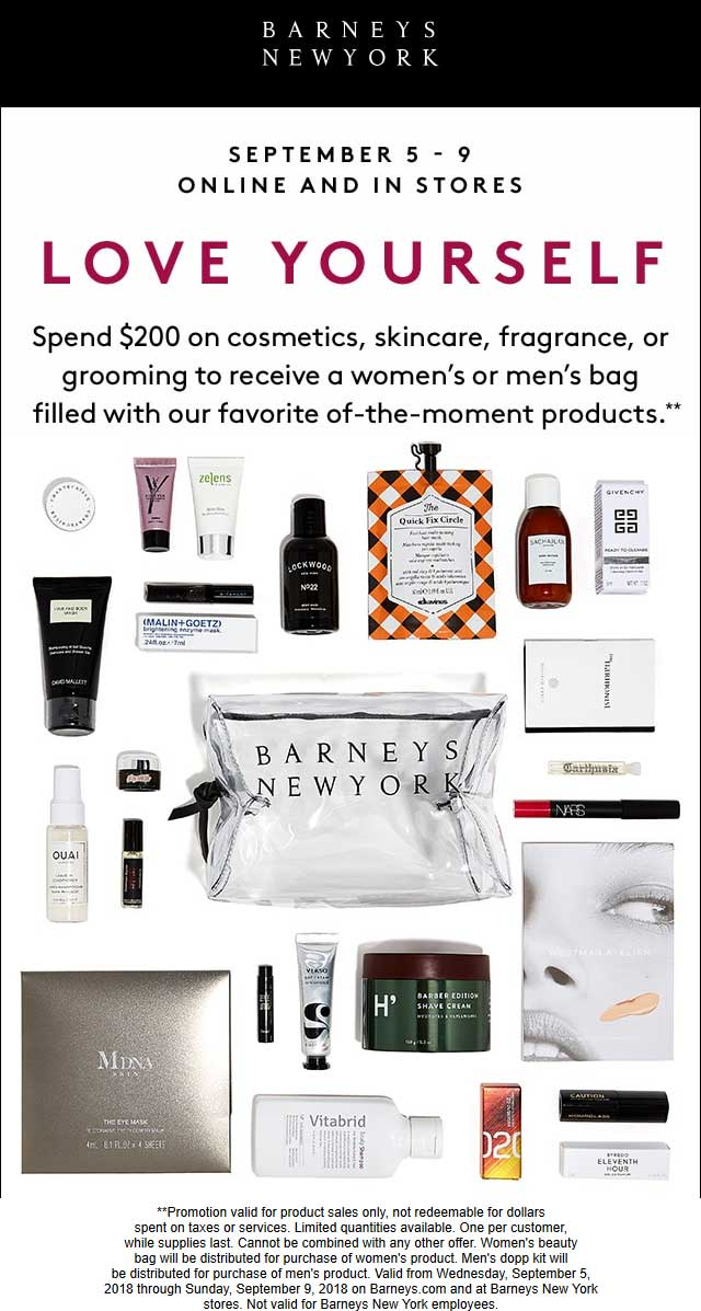 Barneys New York Coupon July 2019 Free bag of cosmetics with $200 spent at Barneys New York, ditto online