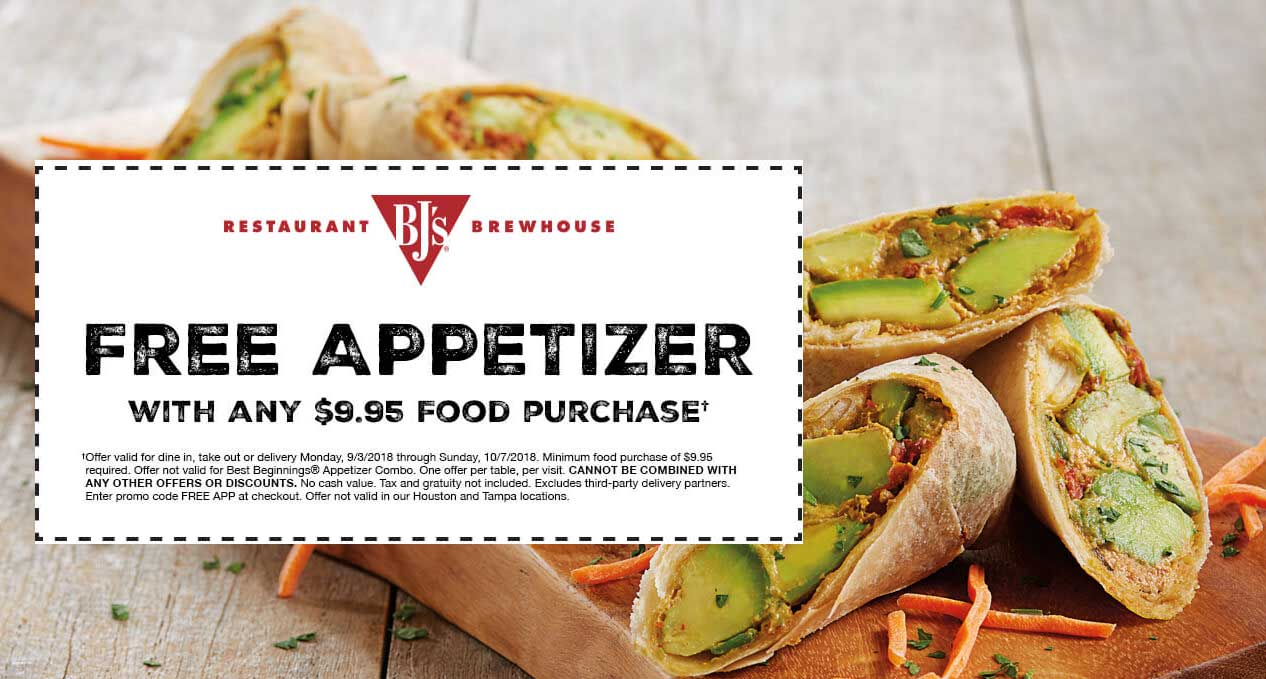 BJsRestaurant.com Promo Coupon Free appetizer with $10 spent at BJs Restaurant brewhouse