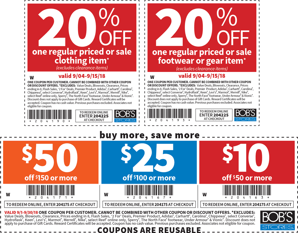 Bobs Stores Coupon June 2019 $10 off $50 & more at Bobs Stores, or online via promo code 204175