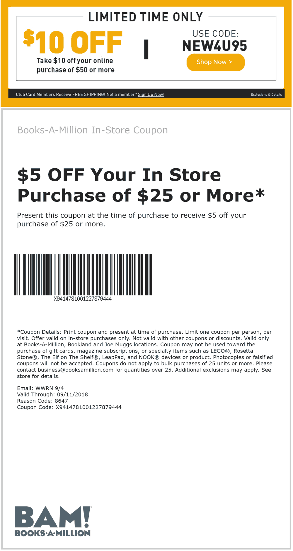 Books-A-Million Coupon May 2019 $5 off $25 at Books-A-Million, or $10 off $50 online via promo code NEW4U95