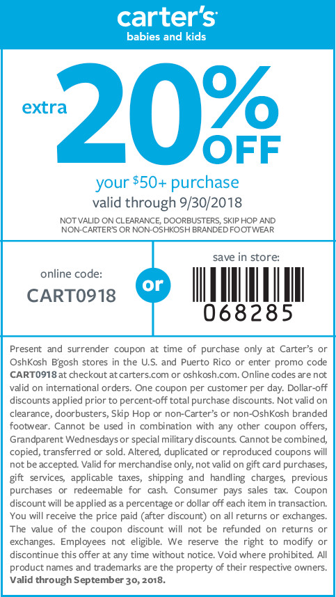 Carters Coupon July 2019 20% off $50 at Carters, or online via promo code CART0918