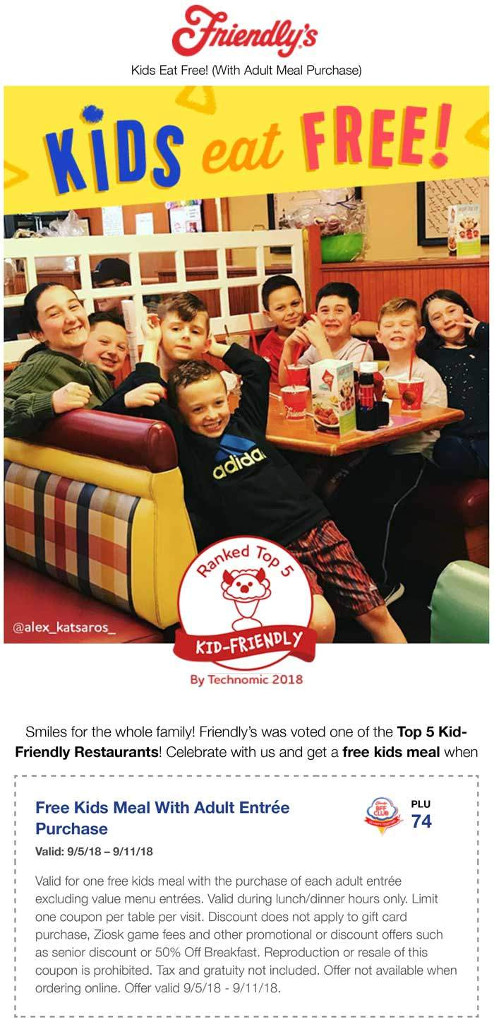 Friendlys Coupon May 2019 Free kids meal with yours at Friendlys