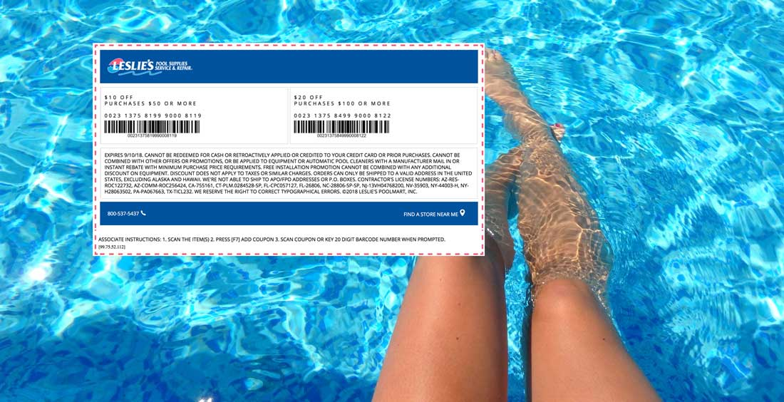 Leslies Pool Supplies Coupon July 2019 $10 off $50 & more at Leslies Pool Supplies