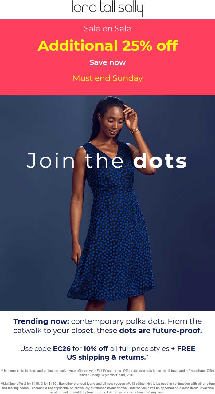 Long Tall Sally Coupon May 2019 Extra 25% off sale items at Long Tall Sally, also online + 10% via promo code EC26