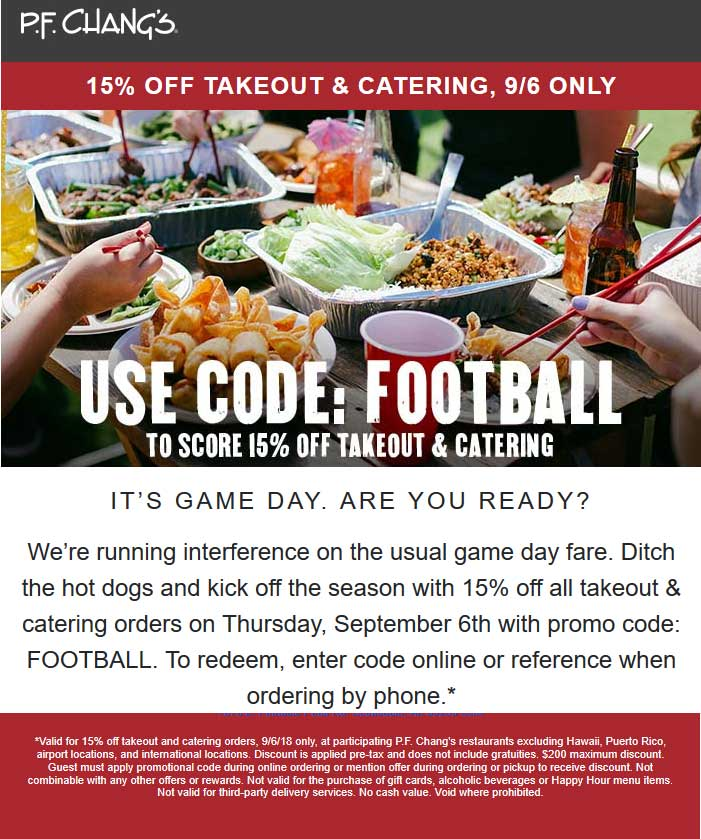 P.F. Changs Coupon November 2019 15% off takeout today at P.F. Changs restaurants
