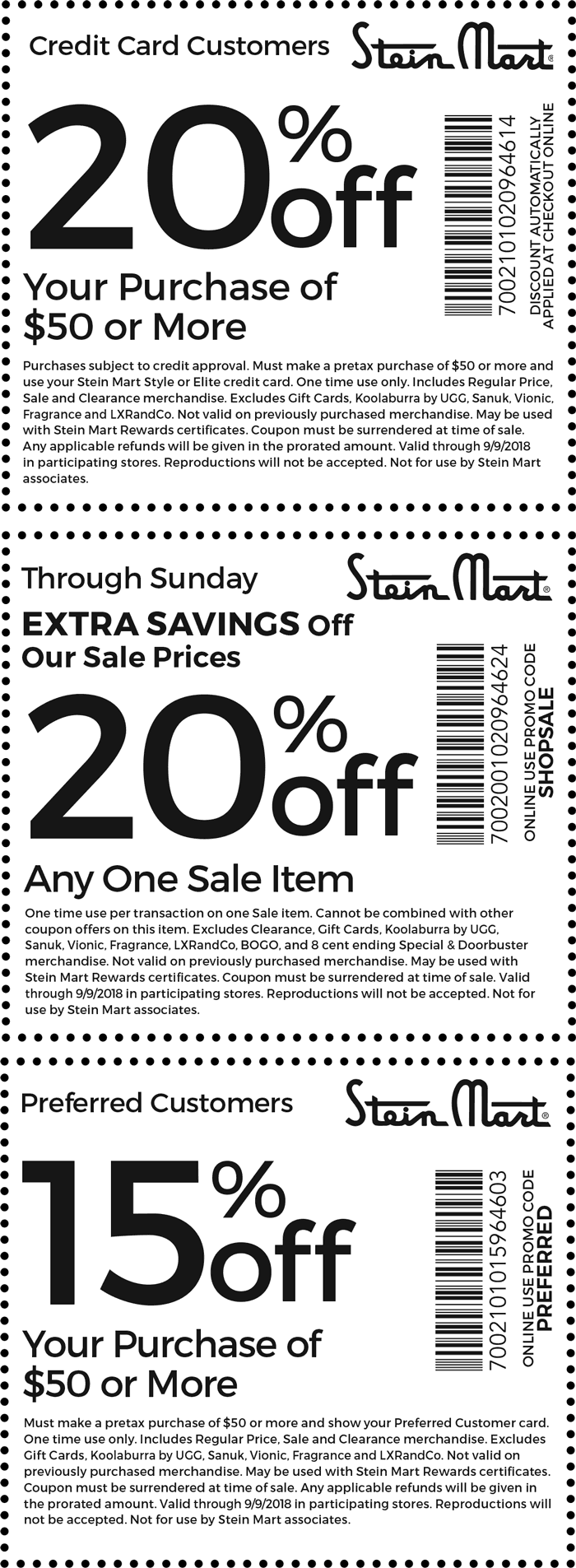 Stein Mart Coupon June 2019 15% off $50 & more at Stein Mart, or online via promo code PREFERRED