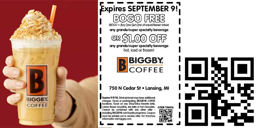 Biggby Coffee Coupon July 2019 Second drink free at Biggby Coffee