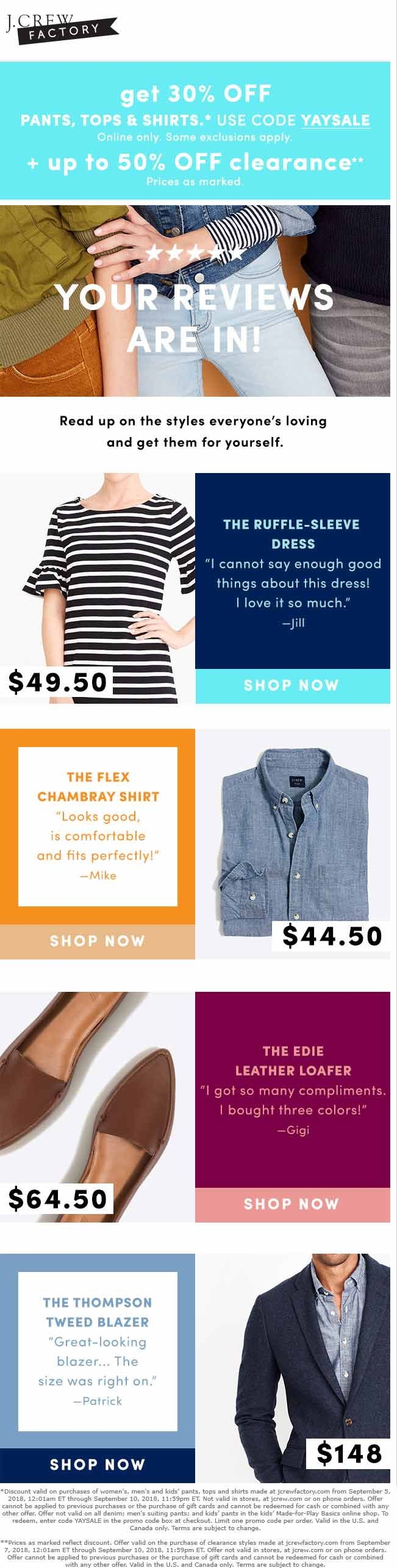 J.Crew Factory Coupon July 2019 30% off online at J.Crew Factory via promo code YAYSALE