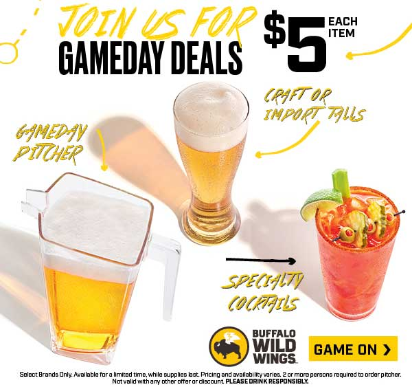 Buffalo Wild Wings Coupon November 2019 $5 pitchers & cocktails today at Buffalo Wild Wings restaurants