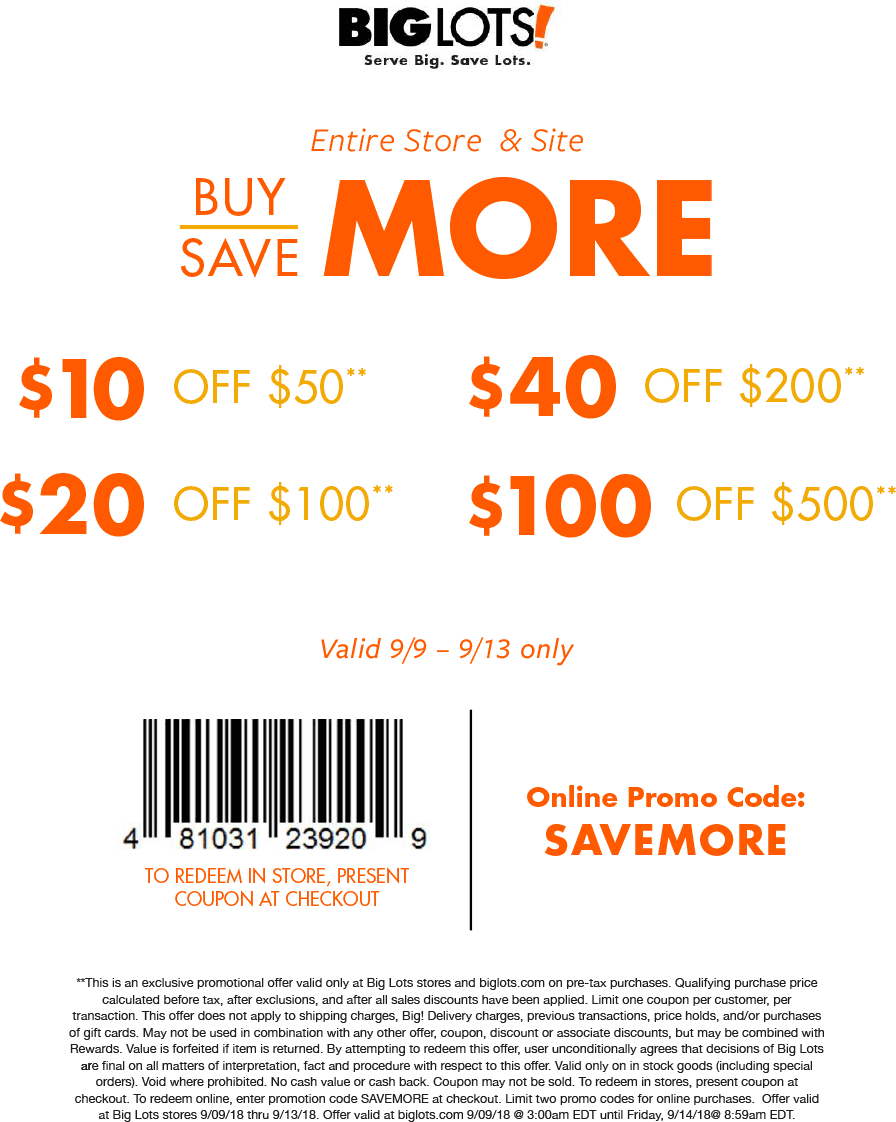 Big Lots Coupon May 2019 $10 off $50 & more at Big Lots, or online via promo code SAVEMORE