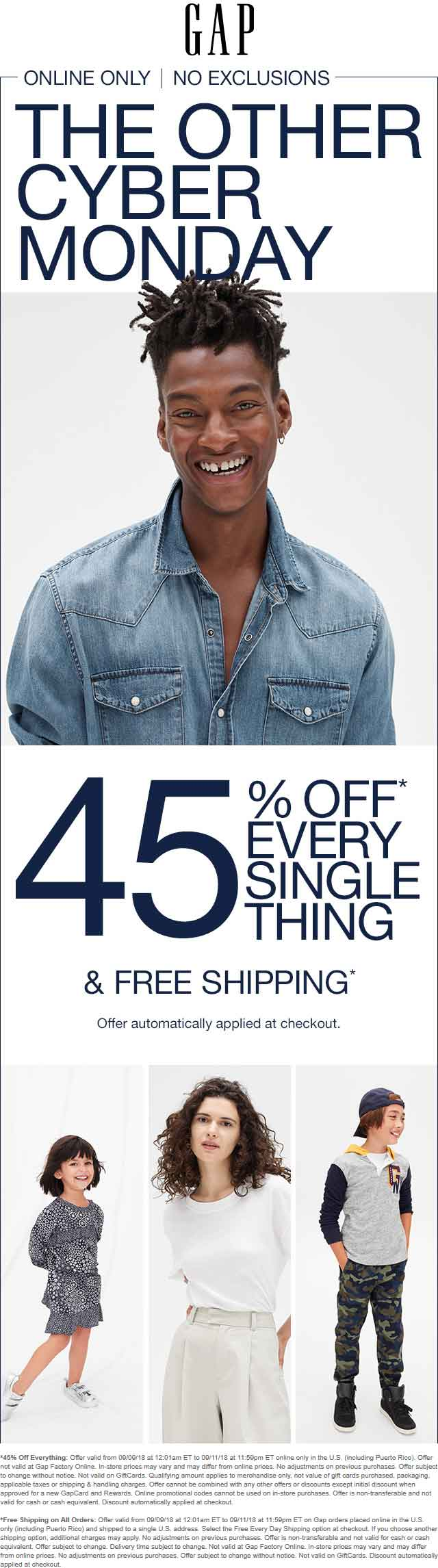 Gap Coupon May 2019 45% off everything online at Gap, no code needed