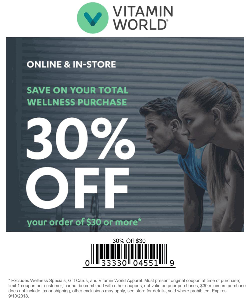 Vitamin World Coupon July 2019 30% off $30+ at Vitamin World, or online via promo code VE09A05